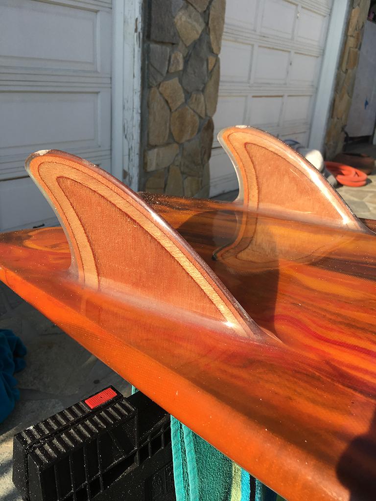 Hand shaped wood keel fins